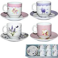 1454 Сервиз кофейный 12пр. Цветы Микс3 (чашка-80мл, блюдце-11см)