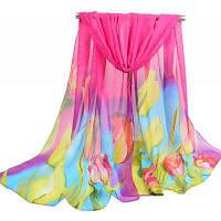 Женщины Легкий шифоновый шарф с цветной печатью розово-красный