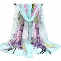 Женские павлиньи цветы Печать Мягкий легкий шифоновый шарф Светло-синий