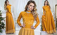 Вечернее трикотажное платье в пол с декором Код:414118721