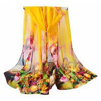 Женщины Vintage Flowers Print Мягкий легкий шифоновый шарф Жёлтый