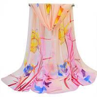 Женщины Lotus Карп печати Мягкий легкий шифон шарф Светло-розовый
