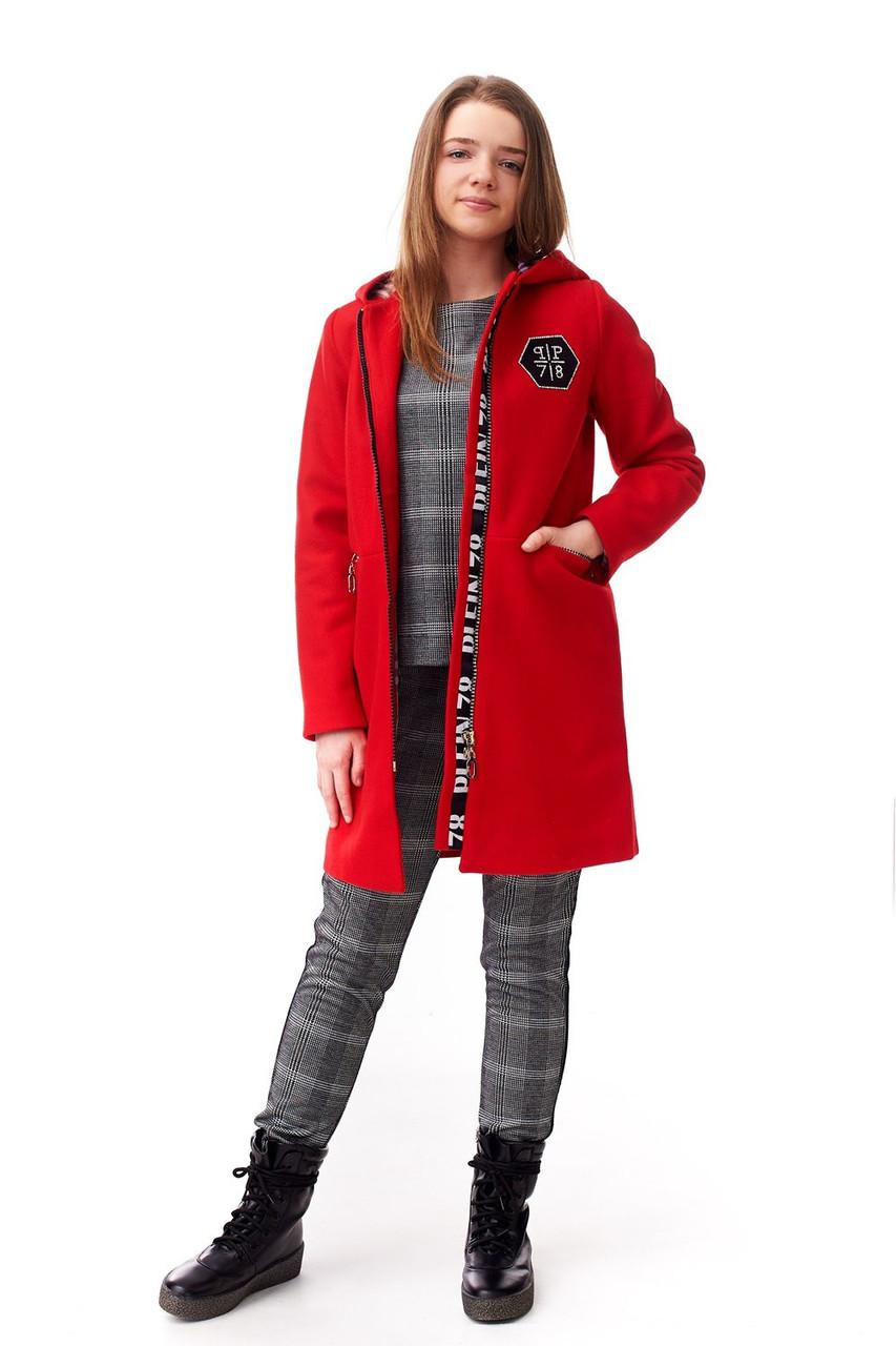 Демисезонное кашемировое пальто для девочки с капюшоном, красного цвета 0f0c9ceef4b