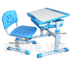 Детская парта и стул растущие YK-15 с нишей, синий, для дома