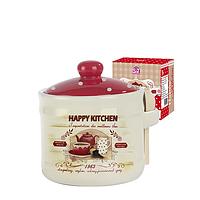 2370-11 Банка для меда с деревянными ложкой 'Happy Kitchen' (h-8,5 см, d-10см, об-м 420мл)