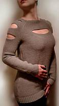 """Свитер женский тонкий с разрезами """"Кокетка"""", код 782, фото 2"""