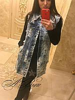 Оригинальный джинсовый жилет Matilde с открытой спинкой декорырованой цепамы (131)5077