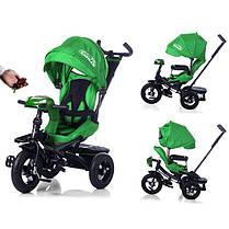 Трехколесный велосипед с Пультом управления и USB.Tilly Cayman T-381 зеленый, колеса надувные, фото 2