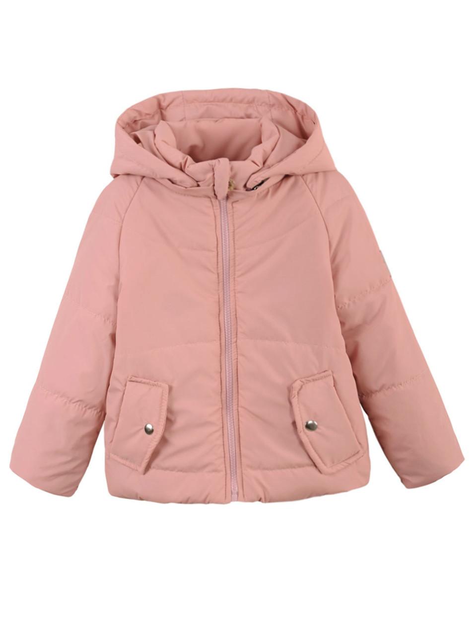 Детская демисезонная куртка на девочку, пудра, р.122,128,134