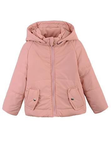 Детская демисезонная куртка на девочку, пудра, р.122,128,134, фото 2
