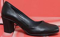 Женские туфли на среднем каблуке, кожаные женские туфли от производителя модель СТТ20