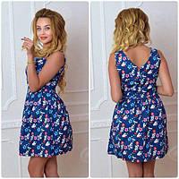 Платье, модель 744, цвет - электрик в цветок, фото 1