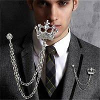Брошь Gleiny алмазные коронки стиль мужской костюм Серебристый