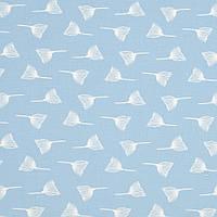 Ткань, хлопок премиум класса одуванчики на светло-джинсовом фоне №3-665