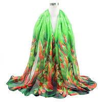 Легкий тонкий цветочный шарф Зелёный