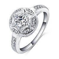 Женское кольцо Элегантный стильный круг Кольцо с цирконом Серебристый