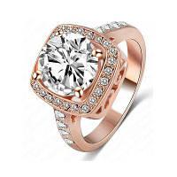 Женское кольцо Элегантный стильный квадратный цирконный аксессуар Розовый золотой