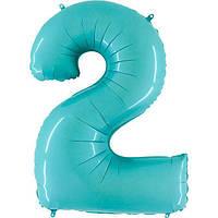 Фольгированные шары цифры - цифра 2 Аквамарин 100см Grabo (Упакованая)