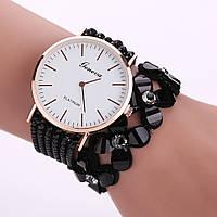 Женские часы браслет со стразами и черным ремешком