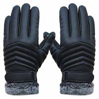 1 пара нежных мужчин Зимняя кожа вождения скольжения Термальные зимние спортивные перчатки Чёрный