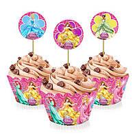 """Топперы для капкейков, десертов и кексов """"Принцессы Дисней"""", 6 шт./уп."""