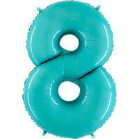 Фольгированные шары цифры - цифра 8 Аквамарин 100см Grabo