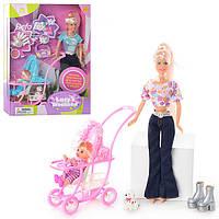 Кукла DEFA 20958 с дочкой, собачка, щенки 2шт,коляска ,аксессуары,3 вида, кор-ке,34-25,5-6,5см