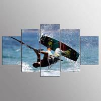 YSDAFEN 5 Panel HD Печатные кайт-серфинг на холсте 30x40cмx2+30x60cмx2+30x80cмx1 (12x16дюймовx2+12x24дюйм