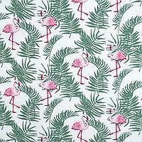 Ткань хлопок фламинго среди пальмовых листьев №1-678