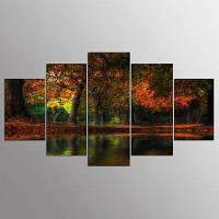 YSDAFEN HD Printed Fall Flood Group Canvas Print Room Decor Печать Плакат Изображение 30x40cмx2+30x60cмx2+30x80cмx1 (12x16дюймовx2+12x24дюйм