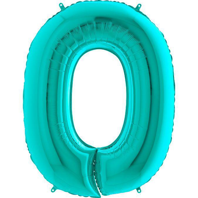 Фольгированные шары цифры - цифра 0 Металлик Тиффани 100см Grabo (Упакованая)