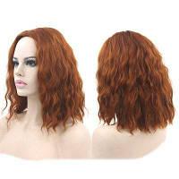 Среднее центральное разделение кукурузы Горячий волнистый синтетический парик Темно-русый