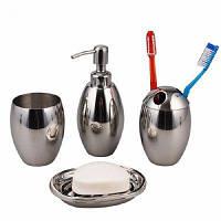 Полированный нержавеющий стальной многоразовый роскошный набор аксессуаров для ванной комнаты Oval Серебристый