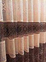 Тюль из сетки высотой 1,6 м золото с коричневым узором, фото 1