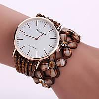 Женские часы браслет со стразами и коричневым ремешком