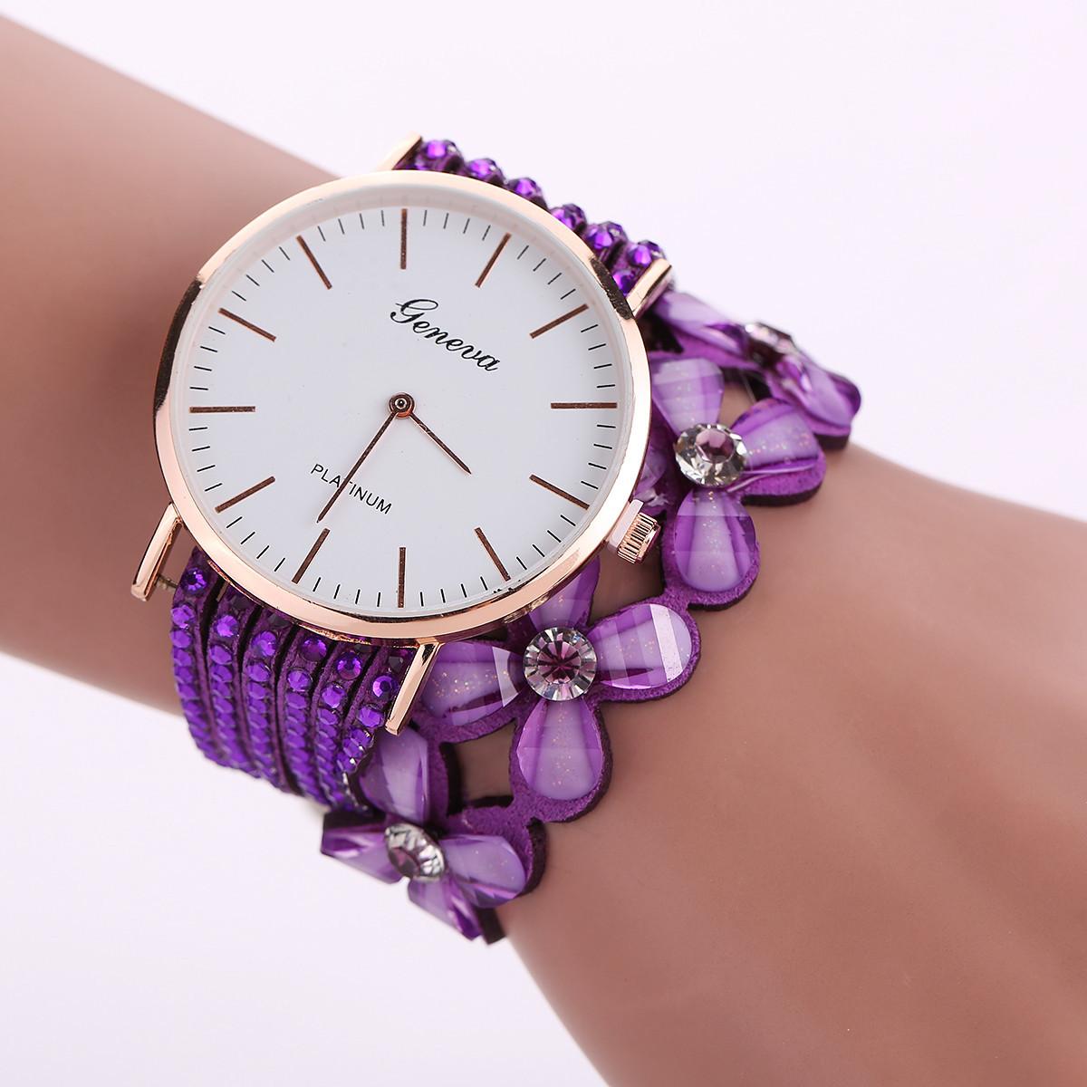 Женские часы браслет со стразами и фиолетовым ремешком
