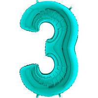 Фольгированные шары цифры - цифра 3 Металлик Тиффани 100см Grabo (Упакованая)