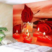 День Святого Валентина Подарочные розы Сердце свечи Pattern Wall Tapestry ширина59дюймов*длина51дюйм