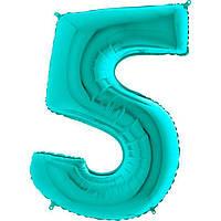 Фольгированные шары цифры - цифра 5 Металлик Тиффани 100см Grabo (Упакованая)