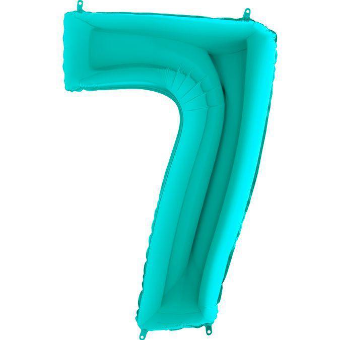 Фольгированные шары цифры - цифра 7 Металлик Тиффани 100см Grabo (Упакованая)