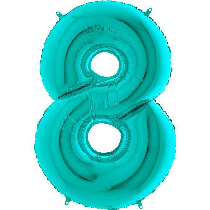Фольгированные шары цифры - цифра 8 Металлик Тиффани 100см Grabo (Упакованая)