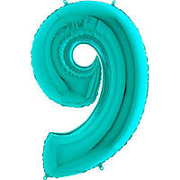 Фольгированные шары цифры - цифра 9 Металлик Тиффани 100см Grabo (Упакованая)