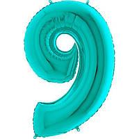 Фольговані кульки цифри - цифра 9 Металік Тіффані 100см Grabo (Упакованая)