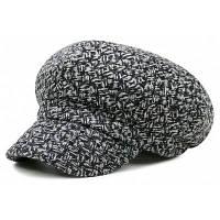 Винтажный Клетчатый Вязаный Берет - черный и серый