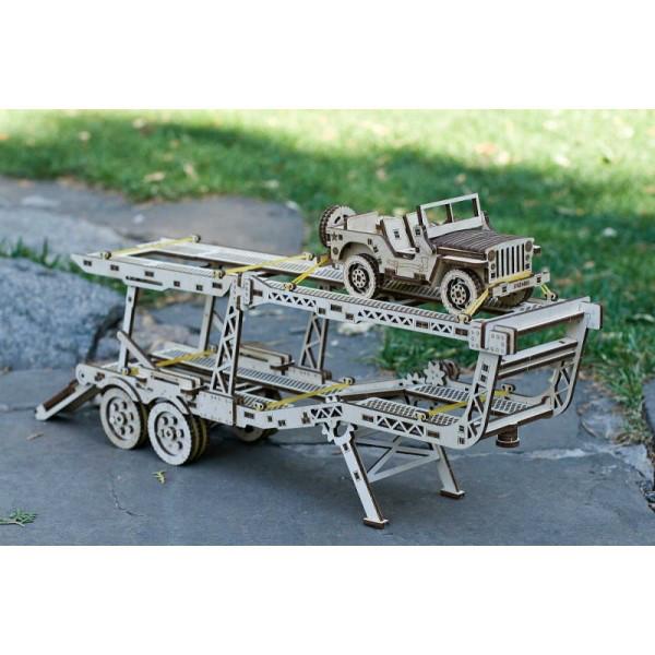 Модель механическая Прицеп Автовоз дерево Wood Trick