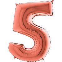 Фольгированные шары цифры - цифра 5 металлик розовое золото 100см Grabo (Упакованая)