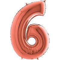 Фольгированные шары цифры - цифра 6 металлик розовое золото 100см Grabo (Упакованая)