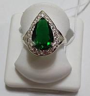 Серебряное кольцо Анастасия с зеленым камнем
