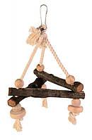 Іграшка Trixie Swing on Rope для птахів дерев'яна, 16х16х16 см