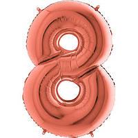Фольгированные шары цифры - цифра 8 металлик розовое золото 100см Grabo (Упакованая)